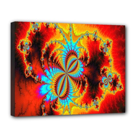 Crazy Mandelbrot Fractal Red Yellow Turquoise Canvas 14  x 11