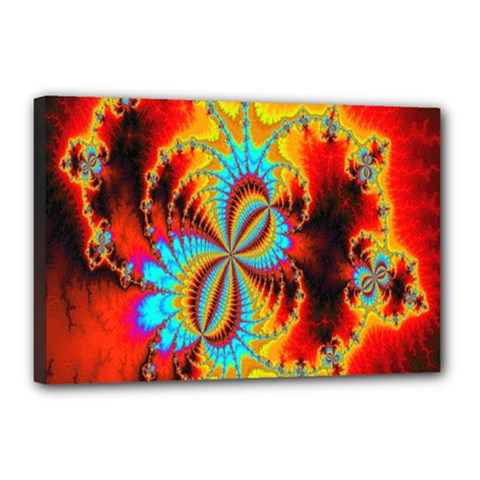 Crazy Mandelbrot Fractal Red Yellow Turquoise Canvas 18  x 12