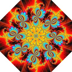 Crazy Mandelbrot Fractal Red Yellow Turquoise Straight Umbrellas by EDDArt