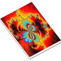 Crazy Mandelbrot Fractal Red Yellow Turquoise Large Memo Pads by EDDArt