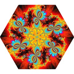 Crazy Mandelbrot Fractal Red Yellow Turquoise Mini Folding Umbrellas by EDDArt