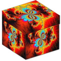 Crazy Mandelbrot Fractal Red Yellow Turquoise Storage Stool 12