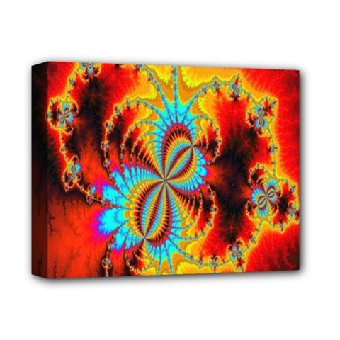 Crazy Mandelbrot Fractal Red Yellow Turquoise Deluxe Canvas 14  x 11