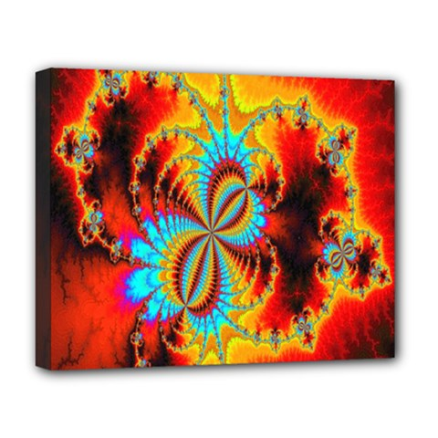 Crazy Mandelbrot Fractal Red Yellow Turquoise Deluxe Canvas 20  x 16