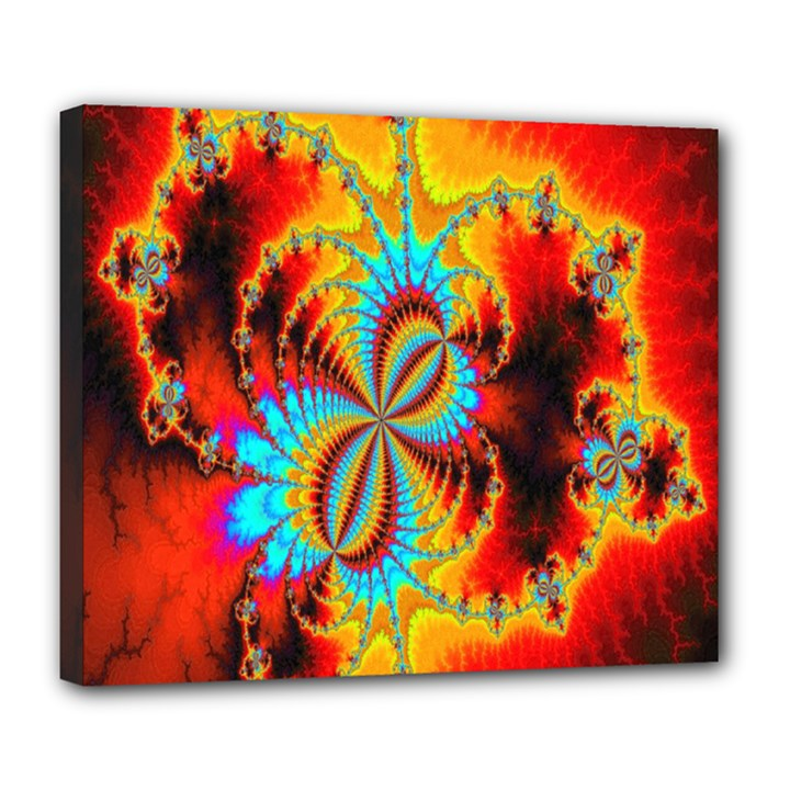 Crazy Mandelbrot Fractal Red Yellow Turquoise Deluxe Canvas 24  x 20