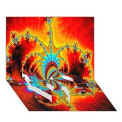 Crazy Mandelbrot Fractal Red Yellow Turquoise LOVE Bottom 3D Greeting Card (7x5)