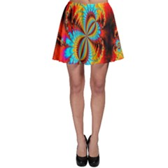 Crazy Mandelbrot Fractal Red Yellow Turquoise Skater Skirt by EDDArt