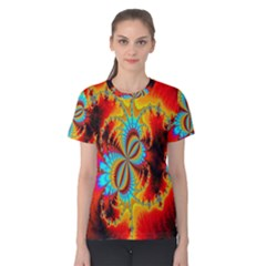 Crazy Mandelbrot Fractal Red Yellow Turquoise Women s Cotton Tee