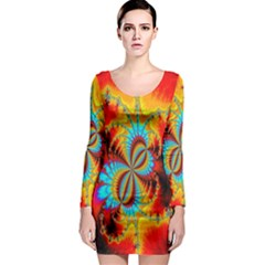 Crazy Mandelbrot Fractal Red Yellow Turquoise Long Sleeve Bodycon Dress