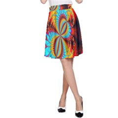 Crazy Mandelbrot Fractal Red Yellow Turquoise A-Line Skirt