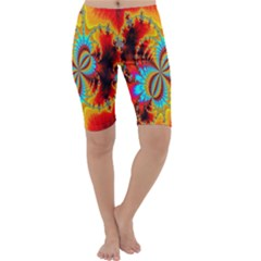 Crazy Mandelbrot Fractal Red Yellow Turquoise Cropped Leggings