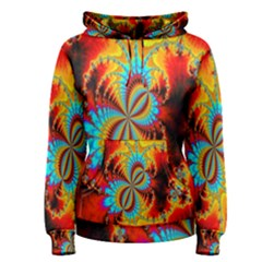 Crazy Mandelbrot Fractal Red Yellow Turquoise Women s Pullover Hoodie by EDDArt