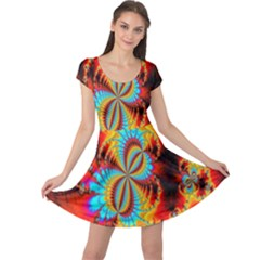 Crazy Mandelbrot Fractal Red Yellow Turquoise Cap Sleeve Dresses