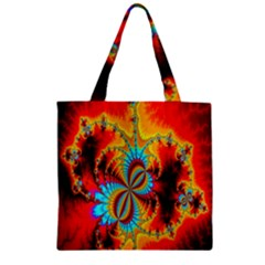 Crazy Mandelbrot Fractal Red Yellow Turquoise Zipper Grocery Tote Bag by EDDArt