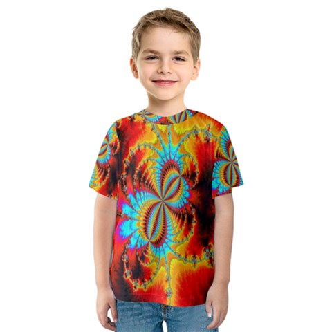 Crazy Mandelbrot Fractal Red Yellow Turquoise Kids  Sport Mesh Tee by EDDArt
