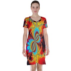 Crazy Mandelbrot Fractal Red Yellow Turquoise Short Sleeve Nightdress