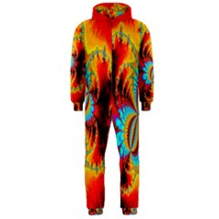 Crazy Mandelbrot Fractal Red Yellow Turquoise Hooded Jumpsuit (Men)