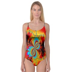 Crazy Mandelbrot Fractal Red Yellow Turquoise Camisole Leotard