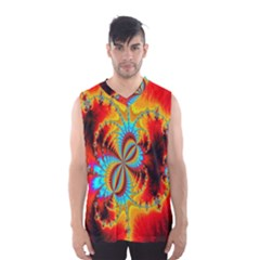 Crazy Mandelbrot Fractal Red Yellow Turquoise Men s Basketball Tank Top