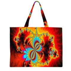 Crazy Mandelbrot Fractal Red Yellow Turquoise Zipper Large Tote Bag by EDDArt