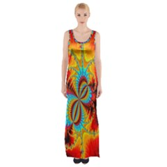 Crazy Mandelbrot Fractal Red Yellow Turquoise Maxi Thigh Split Dress