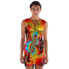 Crazy Mandelbrot Fractal Red Yellow Turquoise Wrap Front Bodycon Dress