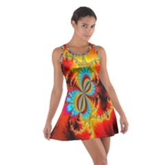 Crazy Mandelbrot Fractal Red Yellow Turquoise Cotton Racerback Dress