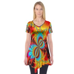 Crazy Mandelbrot Fractal Red Yellow Turquoise Short Sleeve Tunic  by EDDArt