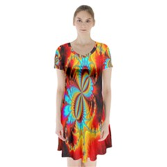 Crazy Mandelbrot Fractal Red Yellow Turquoise Short Sleeve V Neck Flare Dress by EDDArt