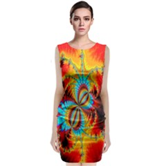 Crazy Mandelbrot Fractal Red Yellow Turquoise Classic Sleeveless Midi Dress