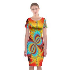 Crazy Mandelbrot Fractal Red Yellow Turquoise Classic Short Sleeve Midi Dress by EDDArt