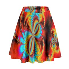 Crazy Mandelbrot Fractal Red Yellow Turquoise High Waist Skirt by EDDArt