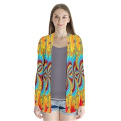 Crazy Mandelbrot Fractal Red Yellow Turquoise Drape Collar Cardigan by EDDArt