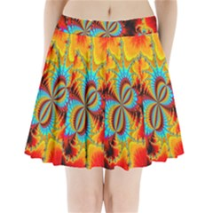 Crazy Mandelbrot Fractal Red Yellow Turquoise Pleated Mini Skirt