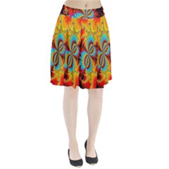 Crazy Mandelbrot Fractal Red Yellow Turquoise Pleated Skirt