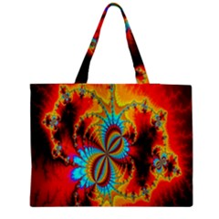 Crazy Mandelbrot Fractal Red Yellow Turquoise Medium Tote Bag by EDDArt