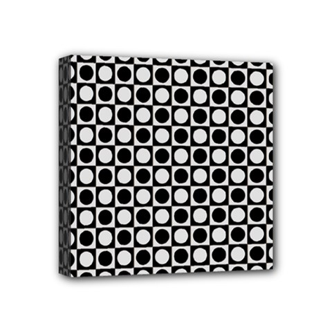 Modern Dots In Squares Mosaic Black White Mini Canvas 4  X 4  by EDDArt