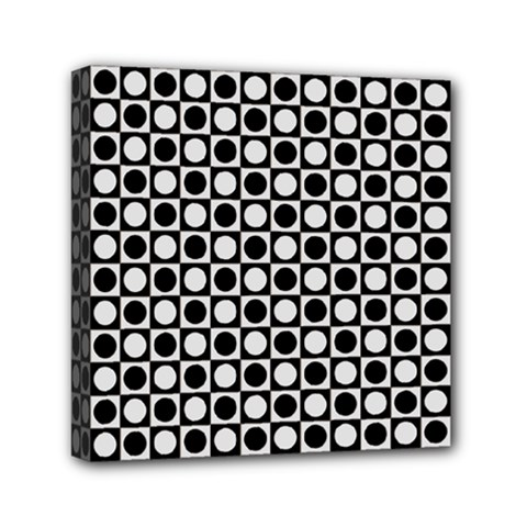 Modern Dots In Squares Mosaic Black White Mini Canvas 6  X 6  by EDDArt