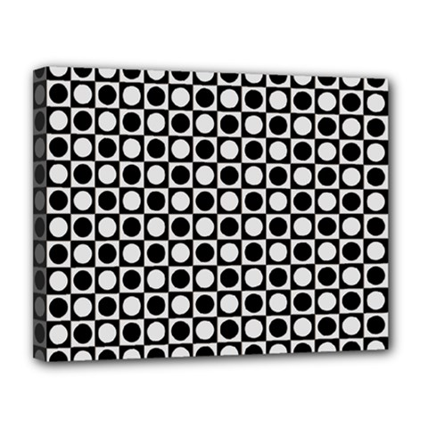 Modern Dots In Squares Mosaic Black White Canvas 14  X 11  by EDDArt