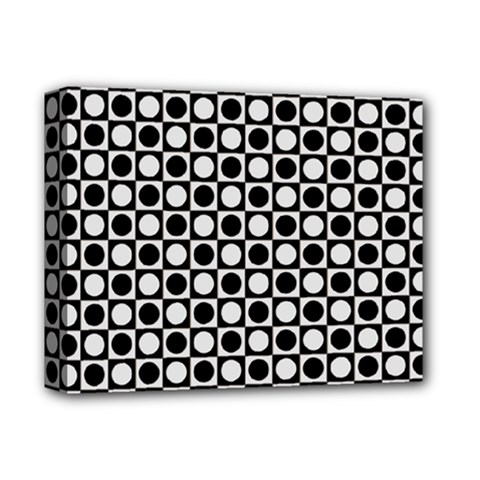 Modern Dots In Squares Mosaic Black White Deluxe Canvas 14  X 11