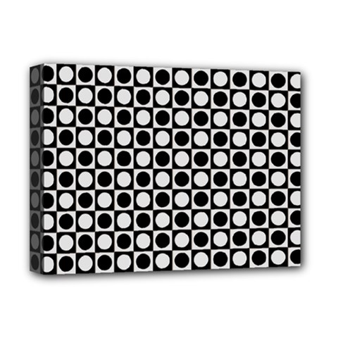 Modern Dots In Squares Mosaic Black White Deluxe Canvas 16  X 12   by EDDArt