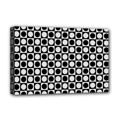 Modern Dots In Squares Mosaic Black White Deluxe Canvas 18  X 12   by EDDArt