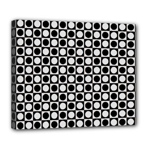 Modern Dots In Squares Mosaic Black White Deluxe Canvas 24  X 20   by EDDArt