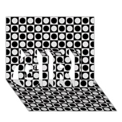 Modern Dots In Squares Mosaic Black White Girl 3d Greeting Card (7x5) by EDDArt