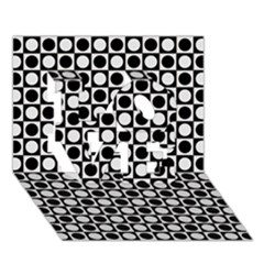 Modern Dots In Squares Mosaic Black White Love 3d Greeting Card (7x5) by EDDArt