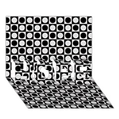 Modern Dots In Squares Mosaic Black White Hope 3d Greeting Card (7x5) by EDDArt