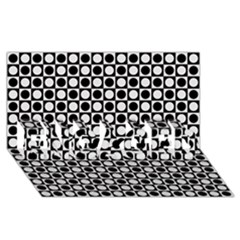 Modern Dots In Squares Mosaic Black White Engaged 3d Greeting Card (8x4) by EDDArt