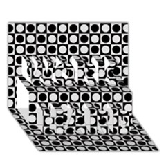 Modern Dots In Squares Mosaic Black White Work Hard 3d Greeting Card (7x5) by EDDArt