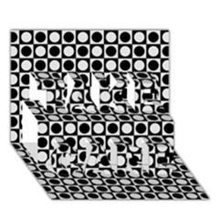 Modern Dots In Squares Mosaic Black White Take Care 3d Greeting Card (7x5) by EDDArt