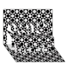 Modern Dots In Squares Mosaic Black White You Rock 3d Greeting Card (7x5) by EDDArt
